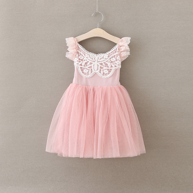 Girls Princess Party Dress Pink Summer Fashion Fly Sleeve Girls lace Tulle Fairy Dress Character Elegant Cute Girl Dresses <br>