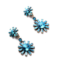 Twinkling Set Crystal Blooming Flowers Blue Afro Earrings Direct Manufacturer