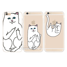 New Ripndipp 3D Cartoon Animals You Rock Cute White Corna Cat Hard Case Cover For Apple iPhone 4 4S 5 5S SE 6 6S 7 Plus