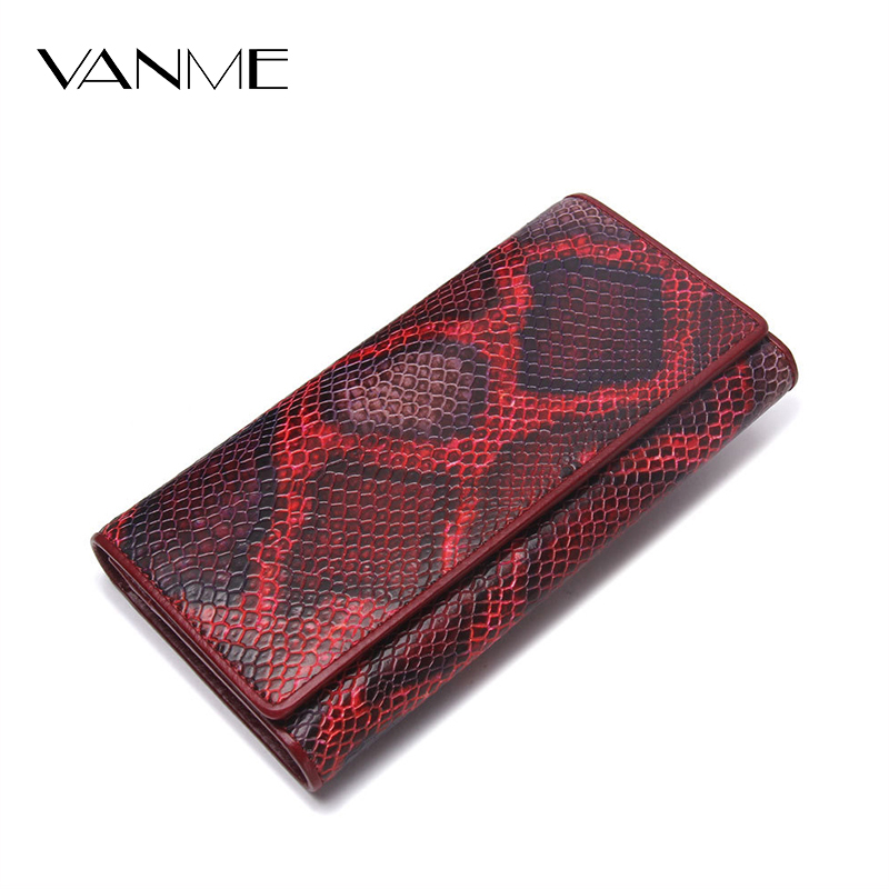 Ladies 2017 Serpentine Wallet Long Genuine Leather Purse Clutches Card Holder Coin Purse Luxury Fashion Women Long Wallets Hasp<br>