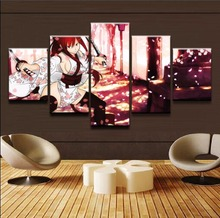Home Decorative Artwork Anime Poster Wall Art Painting 5 Piece One Set Erza Scarlet Fairy Tail Modular Pictures Canvas Print(China)