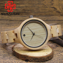 SIHAIXIN Wooden Womans Quartz Watch With Vintage Personalized Style Designer Brand Sandalwood Band Wristwatches For Ladies Gift