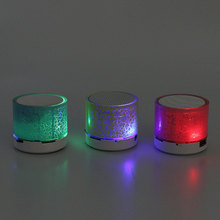 Mini Bluetooth Speakers LED Light Crack Portable Stereo Speaker Wireless Audio Player Support TF Card/USB flash drive