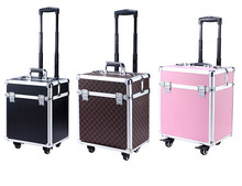 3 Colors Aluminum Rolling Makeup Case Cosmetic Train Box Trolley storage Beayt Box with Tray(China)