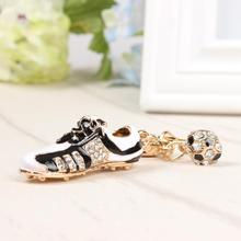 Football Shoe Sport Lovely New Fashion Cute Crystal Charm Pendant Purse Bag Car Key Ring Chain Wedding Party Creative Gift(China)