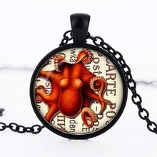 Steampunk red octopus pendant Silverplated round glass dome necklace charm art photo necklace for women jewelry n320