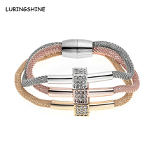 Vintage Cube Dice Crystal Bangles 2016 Magnetic Clasp Fashion Women Multilayer Chain Bracelet Pubseiras Women Jewelry JJAL B467(China)
