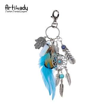Artilady naturel opale pierre dreamcatcher porte-clés mode argent boho bijoux plume porte-clés pour femmes 2016 printemps