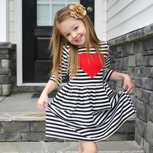2017 New Autumn Girls Black White Stripe Red Heart Print Dress Casual Cute Long Sleeve Girls Dress Kid Princess Dress