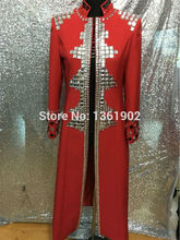 Plus size Custom made red Crystals men's ds dj male singer dance performance long style outerwear costume rhinestone jacket coat(China)