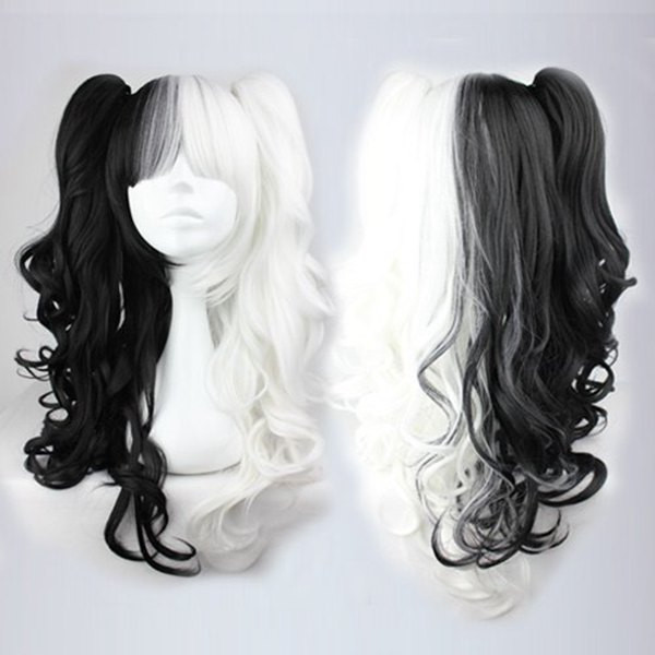 Half White Half Black Wig Synthetic Sexy Party Hair Womens Long Curly Cosplay Anime Full Wigs Half White Half Black Wig<br><br>Aliexpress