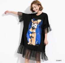 European style 2017 New arrivals spring summer fashion women clothes Personality cartoon printing loose casual dress J2160(China)