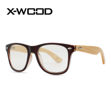 X-WOOD Optical Lens Half Of Bamboo Sunglasses For Men Nerd Geek Style Clear Lens Rivets Sun Glassses Boys Brand Designer UV400(China)
