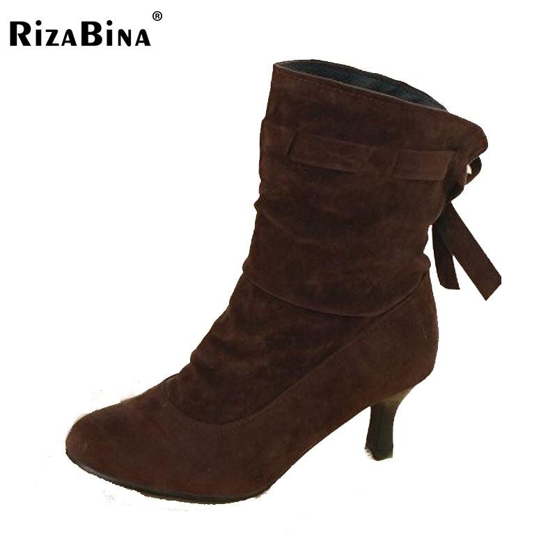 RizaBina women high heel ankle boots winter martin snow botas fashion footwear warm heels boot shoes P16054 size 34-43<br><br>Aliexpress