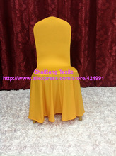 100pcs Extra Thicker #4 Gold Big Skirting Chair Cover ,Elegance Lycra Chair Cover For Wedding Events &. Decoration,(China)
