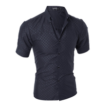 maillot italie euro Men shirt fashionable dark grain grid cultivate one's morality short sleeve shirt camisa slim fit masculina