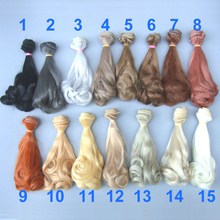 1pcs Extension Doll Hair 15*100cm Natural Color Curly Wigs for BJD OB Doll(China)