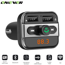 Onever Car MP3 Music Player 2 USB Car Charger Wireless FM Transmitter Handsfree Call Bluetooth Car Kit Support TF Card For Phone