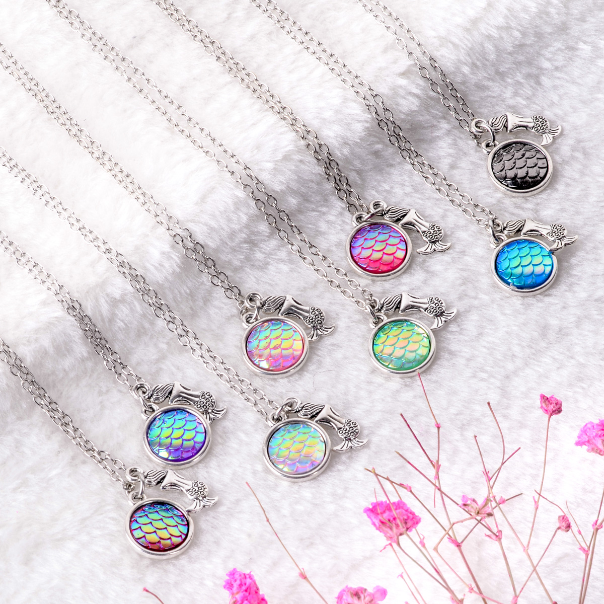 Shellhard Long Chain kolye Mermaid Scale Statement Necklace Vintage Rainbow Shimmery Fish Scale Necklaces & Pendants Jewelry