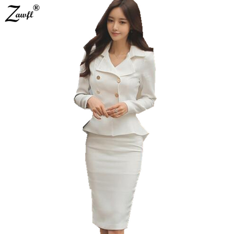ZAWFL 2 Piece set Women Skirt Suits Women Business Suits Office Uniform Designs Women Elegant Work jacket + Skirts Feminino