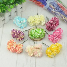 6pcs/lot 3cm Mini Handmade Small Paper Roses Flower Garland Wedding Bouquets Scrapbooking Decorative Paper Cheap Flores(China)