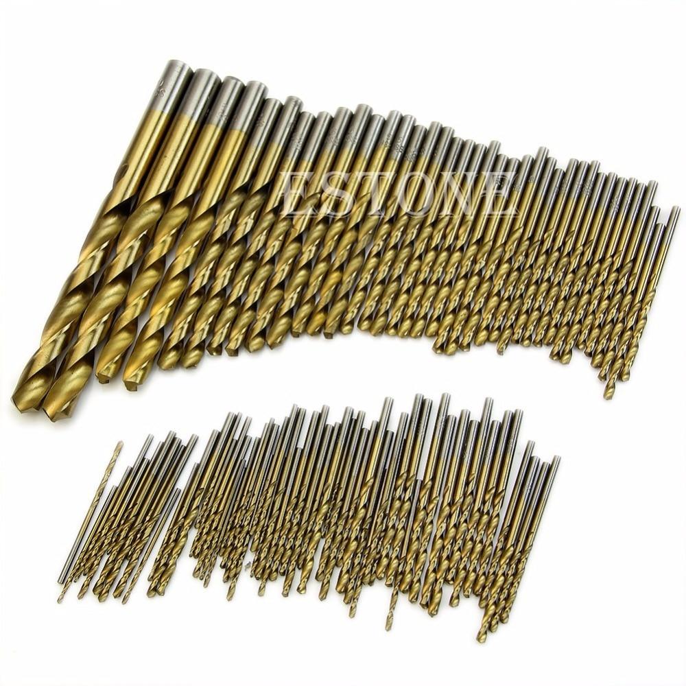Titanium Coated HSS High Speed Steel Drill Bit Set Tool 1.5mm - 10mm 99pcs<br><br>Aliexpress