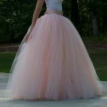 Wedding Maxi Tulle Skirt Floor Length Ball Gown Pink Tutu Skirt with Ribbon Sash Custom Made Super Lush Long Bridal Skirt(China)