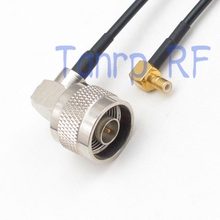 10pcs 6in SMB male pug to N male both right angle RF connector adapter 15CM Pigtail coaxial jumper RG174 extension cord cable(China)