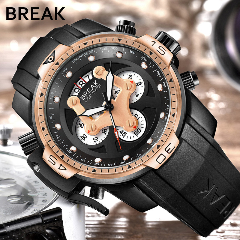 BREAK Sport Chronograph Fashion Watches Men Rubber Band Waterproof Luxury Brand Quartz Watch Gold Dropshipping Relogio Masculino<br>