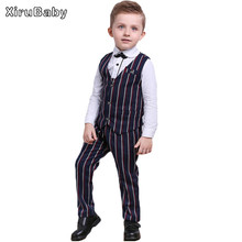 2016 fashion Boys sets Kids Formal Suit Boy Shirt+Vest + trousers Outfits Baby Boy Gentleman Suits Children clothes(China)