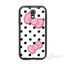 For Samsung Galaxy mini S3/4/5/6/7 edge plus Note2/3/4/5 mobile cellphone cases cover Cute Black Polka Dots with Pink Bows