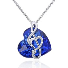 2017 new Fashion Music note necklace ocean Heart Pendant Blue crystal Jewelry Gift For Women wedding Love Gifts