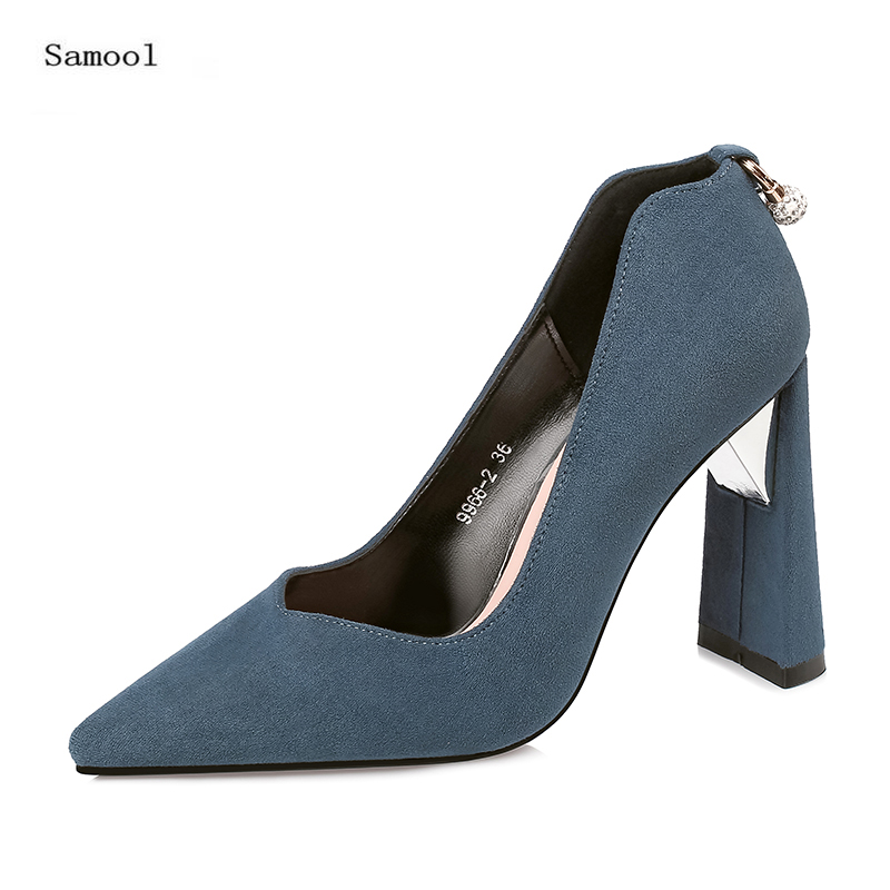 SAMOOL Woman High Heel Casual Shoes Party Dress Shoes Slip On Fashion Casual Lady Footwear Blue Color 8 cm Shoes Heel For Office<br>