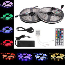 LED RGB Strip Lights 5050 SMD 300leds 5M X 2 + 44 key Controller + 6A LED Power supply(China)