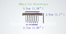 6 teeth each(20 pcs total) 1.6*1.1*1.22 small wire spring comb wig comb clip snap for wig/hair weft/hair extension