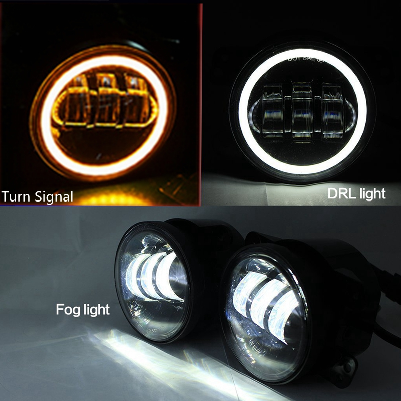 2X 4inch 30W LED Fog Light for 2007-2015 Jeep Wrangler JK CJ TJ LJ Red Turn Signal Light<br><br>Aliexpress