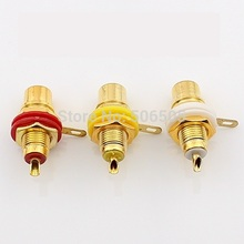 Free shipping High quality gold plated 3 colors RCA socket 6pcs/lot