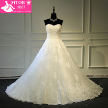 Vestidos De Noiva Com Foto Real Online Shop China Robe De Mariage Strapless Lace Vintage Wedding Dress Bridal Gowns MTOB1723