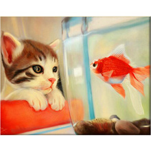 Pet kitten and goldfish Diamond embroidery Diy diamond drill rhinestone pasted Crafts Needlework home decoration mural Y951
