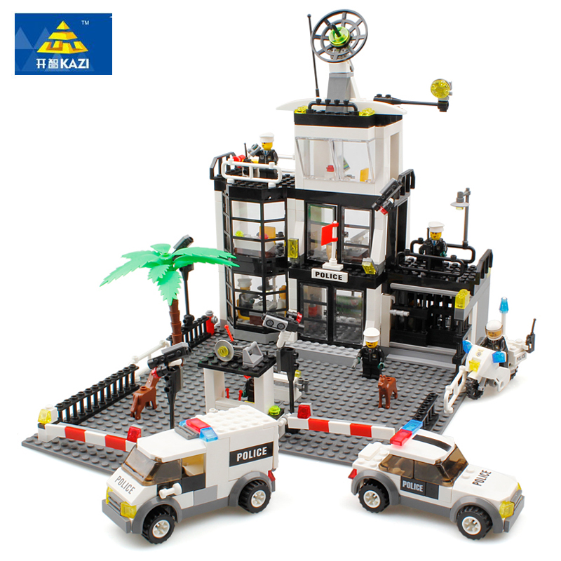 2017 New 631Pcs 6725 Kazi City Figures Police Station Car Model Building Kits Blocks Bricks Educational Toys For Children Gift<br>