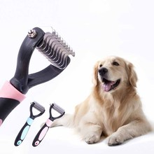 New Pet Cat Dog Comb Brush Professional Large Dogs Open Knot Rake Stainless Steel Opet Hair Knot Knife Pet Grooming Products(China)