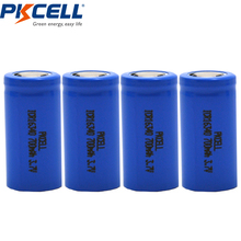 4PCS PKCELL CR123A RCR 123 ICR 16340 Battery 700mAh 3.7V Li-ion Rechargeable Battery Lithium Batteries  Bateria Baterias