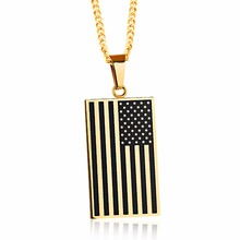 Mental American Flag Pendant necklaces Stainless Steel Retangle Dog Tag Style Pendant Necklace Men's Jewelry DLQ