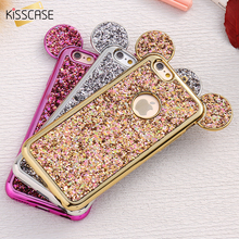 KISSCASE Glitter Powder Cover For iPhone 6 4.7 6S Plus Phone Case Cartoon Mouse Ears Sparkling Coque For iPhone 7 7 Plus Cases