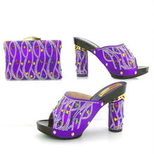 TYS17-91 Latest African High Heel Shoes And Bag With Stone High Class Shoes And Bag Set Hot Sale Woman Sandals Shoes With Purse