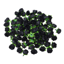 100 x Artificial Flower Head Roses Deco Rosettes DIY Wedding party Baptism BLACK