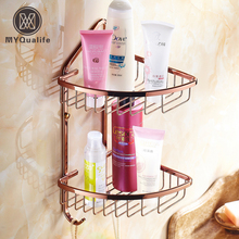 Rose Golden Brass Bathroom Shower Shampoo Cosmetic Holder Storage Shelf Kitchen Holders Racks