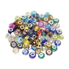 Buy Wholesales 50pcs/Lot Murano Glass Crystal Faceted Rondelle Spacer Large Hole Charms Beads Fit European Bracelet cristal H119 for $7.50 in AliExpress store