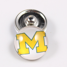 10PCS Michigan Wolverines 18mm Snap Button Fit Ginger Snap Bracelet Bangles NCAA Football Baseball Series Jewelry