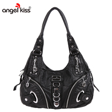 Angel Kiss Top-handle Womens Designer Satchel Purses and Handbags Ladies Tote Bags PU leather Message Shoulder Bag for Women(China)